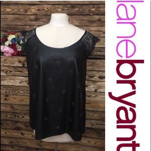 Lane Bryant Faux Leather Embellished Top🔥26/28